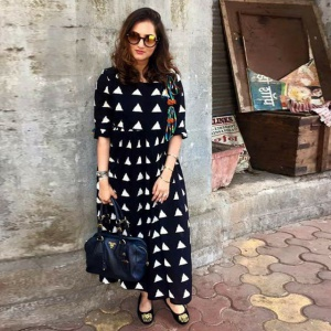 Office Wear Black And White Color Printed Kurti