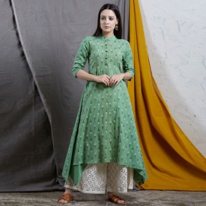 Light Green Color Designer Printed Kurti