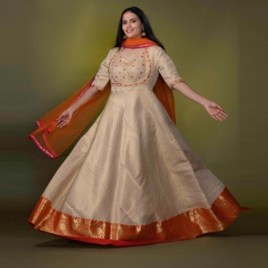 Party Wear Beige Color Anarkali Dress
