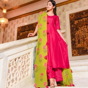 Tapeta Silk Rani Pink Colored Salwar Suit