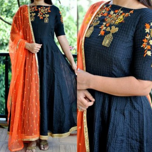 Dark Blue Colored Festive Wear Suit