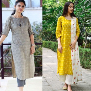 Pack Of 2 Office Wear Cotton Kurtis