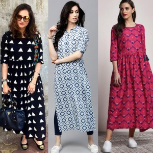 Combo Of 3 Fancy Printed Rayon Kurtis