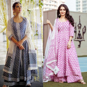 Combo Of 2 Pink And Blue Color Dresses