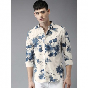 Men Off-White & Blue Slim Fit Printed Casual Shirt