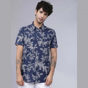 Men Blue & White Regular Fit Printed Casual Shirt